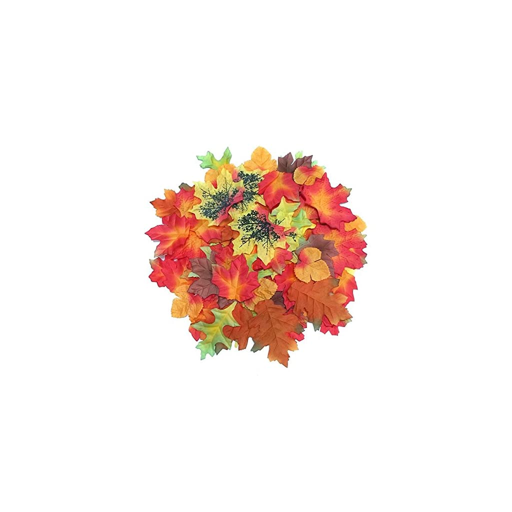Luxbon-100pcs-Artificial-Autumn-Fall-Maple-Leaves-Multi-Colors-Great-Autumn-Table-Scatters-for-Fall-Weddings-Autumn-Parties