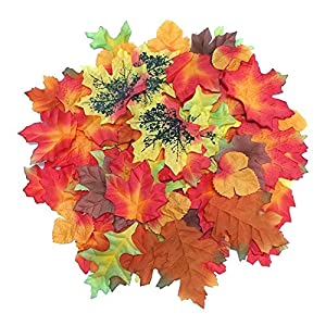 Luxbon 100pcs Artificial Autumn Fall Maple Leaves Multi Colors Great Autumn Table Scatters for Fall Weddings & Autumn Parties 13