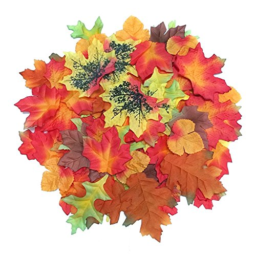 Luxbon 100pcs Artificial Autumn Fall Maple Leaves Multi Colors Great Autumn Table Scatters for Fall Weddings & Autumn Parties Fall Leaves Craft
