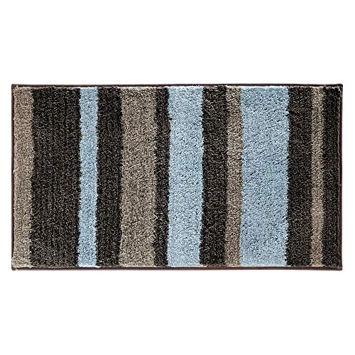 Brown Striped Rug - iDesign Stripz Microfiber Accent Bath Mat, Shower Rug for Master, Guest, Kids' Bathroom, Entryway, 34