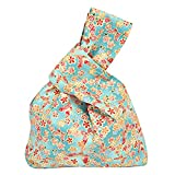 Flowertree Women's Cotton Tiny Floral Knot Bag Canvas Tote Small Size (green+red)