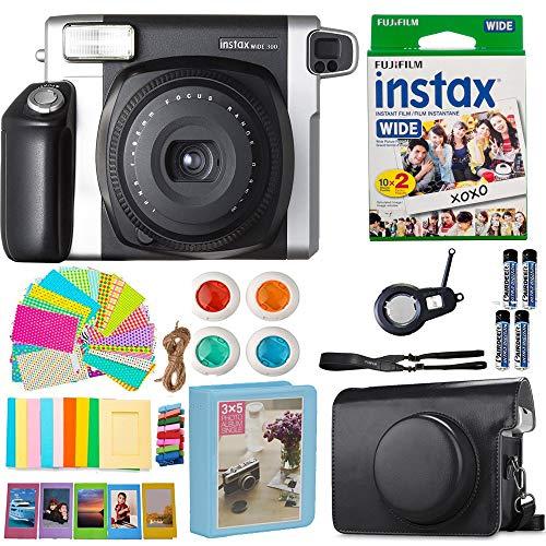 Fujifilm Instax Wide 300 Instant Film Camera (Black) (USA) with Wide Fuji Film (20 Shots) + Accessories Kit Bundle + Case with Strap + 4 Filter Lens + Assorted Frames + Photo Album + Sticker Frames