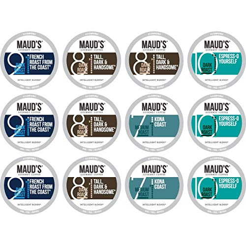Maud's Dark Roast Coffee Sample Pack, 12ct. Recyclable Single Serve Arabica Coffee Pods; K-Cup Compatible Including - Pods Coffee Roast