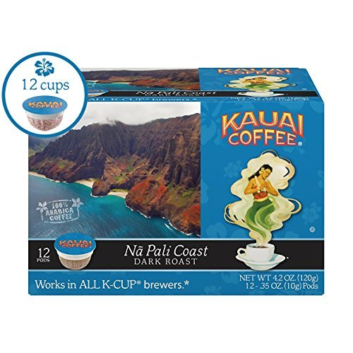 Kauai Coffee Single-serve Pods, Na Pali Coast Dark Roast - 100% Premium Arabica Coffee from Hawaii's Largest Coffee Grower, Keurig-Compatible Cups - 12 - Coast Sweet