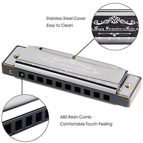 Mugig Diatonic Harmonica Standard 10 Hole Harmonica with Case, Key of C - Image 1