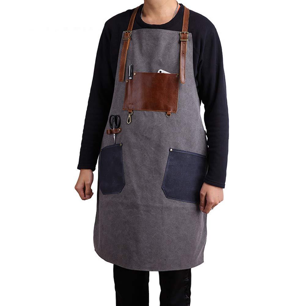 ChengYi Western Restaurant Chef Denim Leather Apron with Pockets Cotton Canvas Coffee Shop High-end Work Apron CYWQ18
