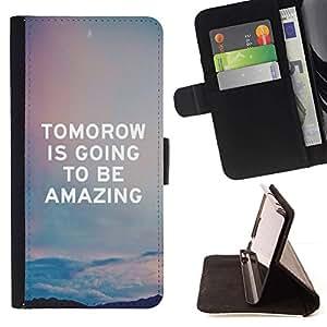 Momo Phone Case / Flip Funda de Cuero Case Cover - Cita Cielo asombroso texto - LG OPTIMUS L90