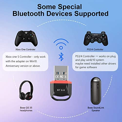 USB Bluetooth Adapter Dongle for PC, 5.0 Wireless Bluetooth Transmitter Receiver for All Windows 10/8 / 8.1/7 Support Laptop Computer Desktop Stereo Music Skype Call Keyboard Mouse