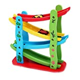 Mochiglory Wooden Green Children's Toys Four Layer Gliding Car Roller Coasters Slide