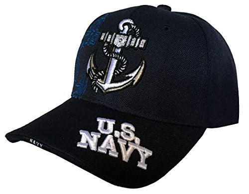 Anchor United States Navy 3D Embroidered Baseball Cap Hat (Navy) (Anchor Ball Cap)