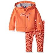 PUMA Baby Girls 2 Piece Floral Print Long Sleeve Tee and Legging Set, Fusion Coral, 12M