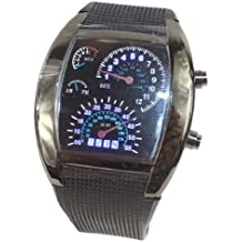 Gullor Cool Car Meter Dial Unisex Blue Flash Dashboard LED Racing Watch - Black