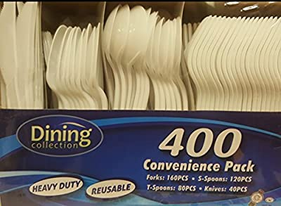 DINING COLLECTION 400-piece Disposable Plastic Cutlery