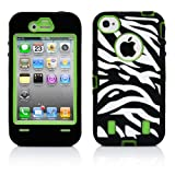 iPhone 4S Case, MagicMobile® Hybrid Rubber Shockproof Case for iPhone 4s White and Black [Zebra] Pattern Design Impact Resistant Heavy Duty Cover iPhone 4 Armor Case Protective (Green) Plastic Cover