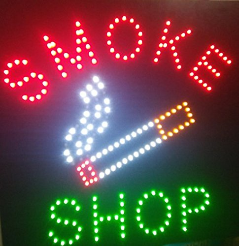 CHENXI Square Led Smoke Shop/Ice Cream Shop/Jewelry Store Open Neon Signs of Business Store Led Sign 48 X 48 CM (48 X 48 CM, smoke shop)