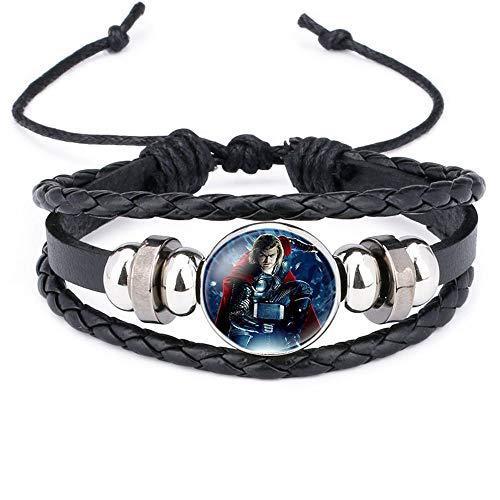 Brec Marvel Bracelets The Avengers Leather Cuff Bracelet Captain America Black Widow Iron Man Wristband Raytheon -