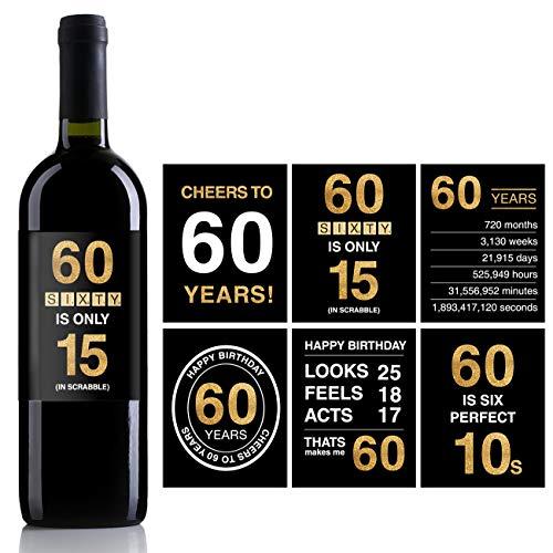 Etiquetas o pegatinas para botellas de vino de 60 cumpleaños ...