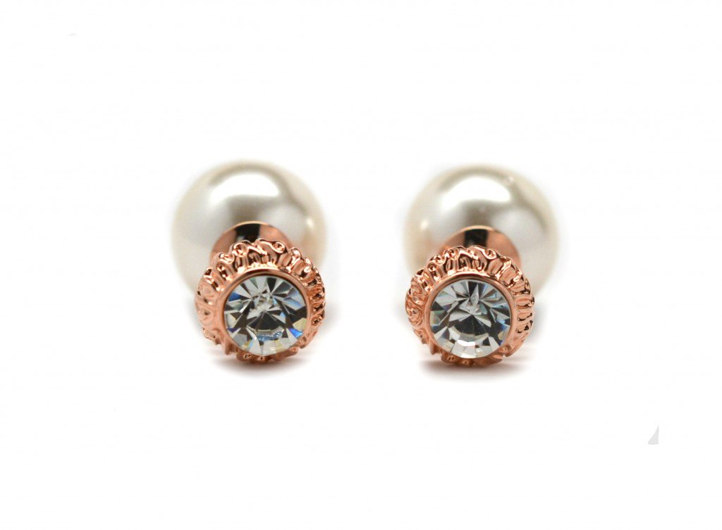 Miss Mozart CZ Stone Double Pearl Style Earrings Rose Gold Plated