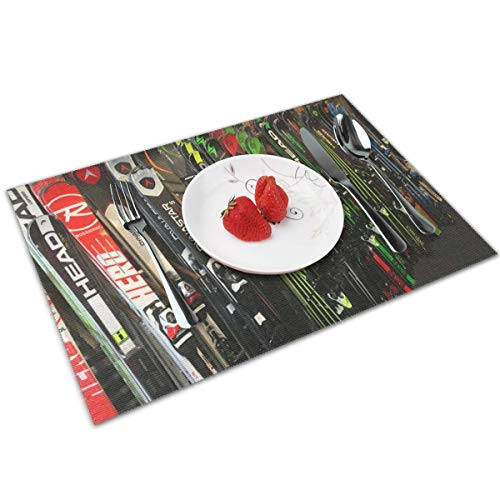 MNBVC Twin Tip Snow Skis Placemats Set of 4 for Dining Table Washable Woven Vinyl Placemat Non-Slip Heat Resistant Kitchen Table Mats Easy to Clean
