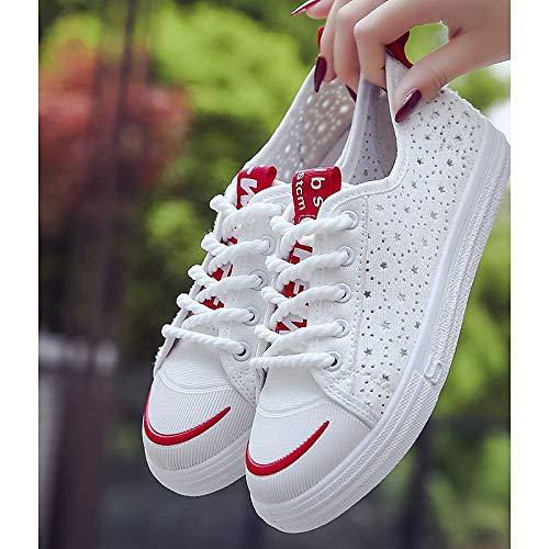 Heel Sneakers Canvas Black Zapatos Mujer ZHZNVX de Rojo Flat Comfort Blanco Spring Negro wZ8FBCq