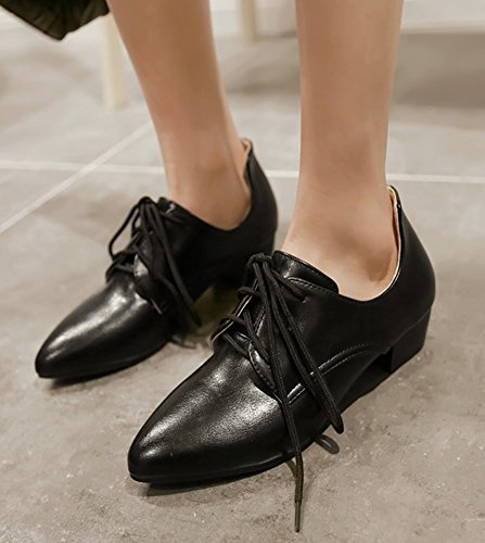 Aisun Femmes Formelle Bout Pointu Robe Chunky Talons Bas Lacets Pompes Oxfords Chaussures Noir