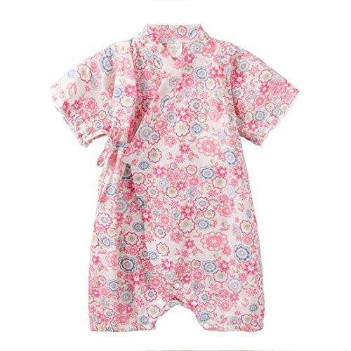 PAUBOLI Japanese Kimono Style Baby Rompers Bathrobe Pajamas Infant Cotton Comfy Loose Bodysuit (3-9 Months, 42)