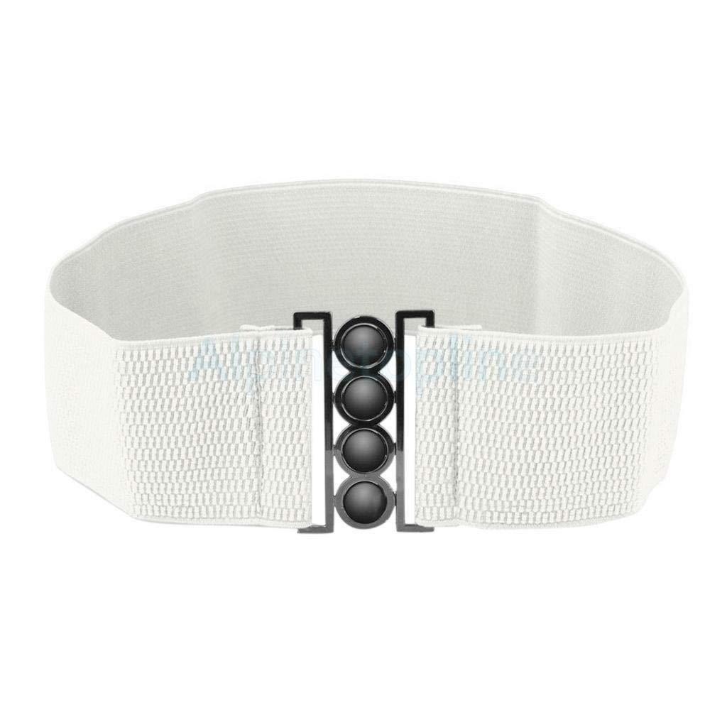 Style 1//White Womens Vintage Metal Elastic Stretch Buckle Wide High Waist Belt Waistband Beautiful Belts Cloth Designer Elegant Fine Girl Girls Goodly Great