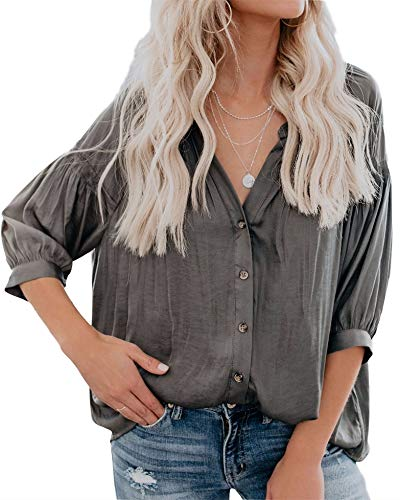 (Inorin Womens V Neck 3/4 Sleeve Shirts Puff Button Up High Low Tops Casual Loose Blouses Dark Grey)