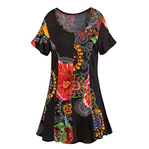 Women's Tunic Top - Black Garden Pattern Short Sleeve Shirt - 3X