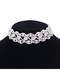 Paxuan Luxury Womens Clear Rhinestone Crystal Silver Choker Necklace Wide Collar Necklace Adjustable