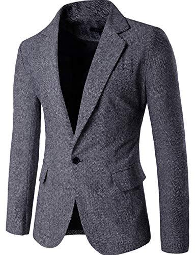 Niaona Men's Classic Herringbone Wool Blazer One Button Sport Coat ()