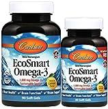 Carlson - EcoSmart Omega-3, 1000 mg Omega-3s Sustainable Source, Heart Health, Brain Function & Vision Support, Lemon…
