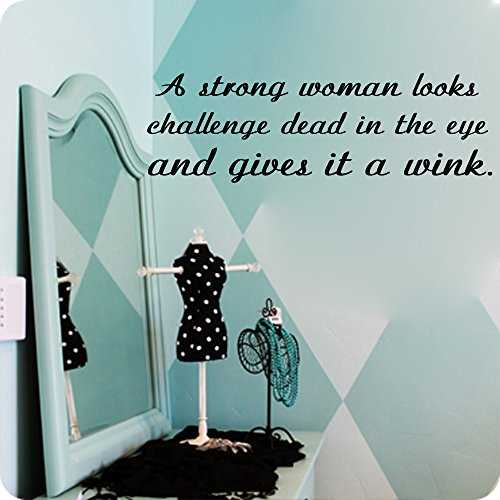 Kreative Decals A strong woman looks a challenge dead in the eye and gives it a wink-inspirational quotes (15x45, pink) by Kreative Decals
