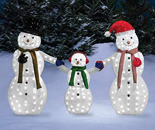 MTFEX Light-Up LED Snowman Family, 3-Piece Set