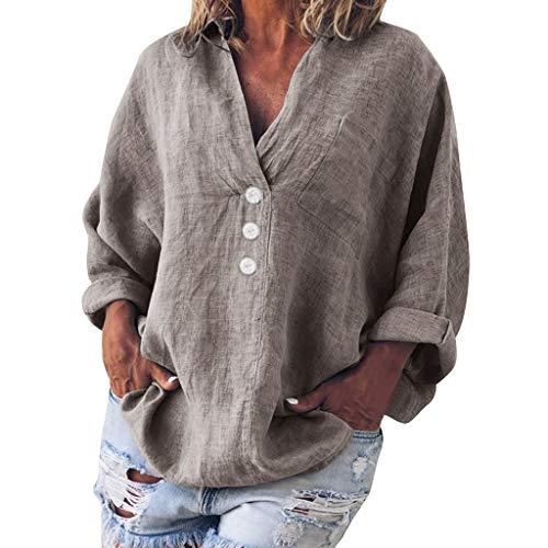 Linen Fold V-Neck Button Blouse, QIQIU Summer Womens Plus Size Retro Loose Short Sleeve Casual Shirt T-Shirt ()