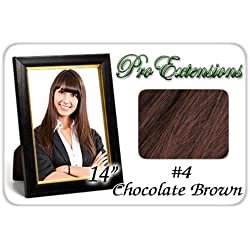 "Pro Extensions 14"" #4 Chocolate Brown Clip-in Human Hair Extensions"