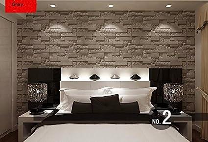 Wallpaper Modern Stacked Brick 3d Stone Wallpaper Roll Grey
