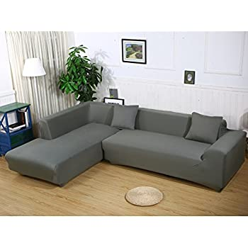 Attractive Premium Quality Sofa Covers For L Shape, 2pcs Polyester Fabric Stretch  Slipcovers + 2pcs Pillow