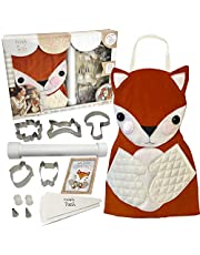 Hapinest Kids Baking Set for Girls Gifts Ages 4 5 6 7 8 year old Make and Bake Cookies Kit Fox Apron and Fall Cookie Cutters, 14 pieces