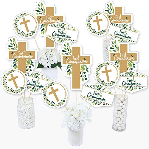 First Communion Elegant Cross - Religious Party Centerpiece Sticks - Table Toppers - Set of 15