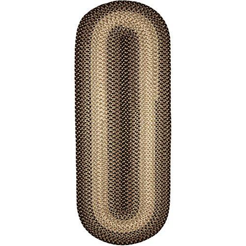 Rug Oval Black Braided - Super Area Rugs Hartford Braided Rug Indoor/Outdoor Kitchen Rug Runner Gray Sunroom/Porch Carpet, 2' X 6' Oval Runner