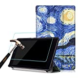 New Fire HD8 2016 Case + Screen Protector,Gzerma Slim PU Leather Standing View with Magnetic Closure Cover and Shatterproof Protective Film for Amazon Kindle New Fire HD 8 inch Display Tablet (Sky)