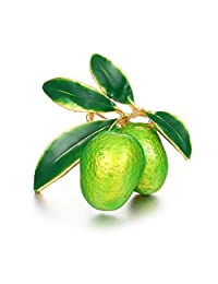 SODIAL Cute Green Fruit Brooch Plum Shape Enamel Corsages Pins Suit Coat Scarf Accessories Jewelry Gifts