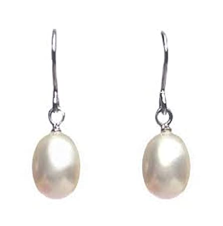 GENUINE FRESHWATER PEARL DROP EARRINGS WHITE 6-7MM 925 SILVER QkOHvg