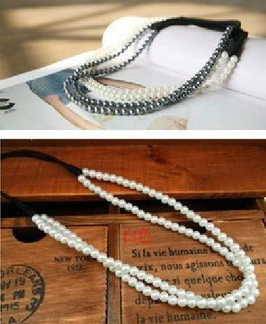 HeroStore Whole Fashion Double Pearl Elastic Headband Hairband Hair Accessory -