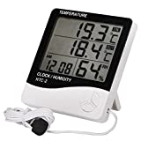 Mofeng Indoor Outdoor LCD Electronic Temperature Humidity Thermometer Digital Thermometer Hygrometer Weather Station Alarm Clock