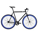 6KU Shelby 4 Fixed Gear Bicycle, Gloss Black/Blue, 55cm