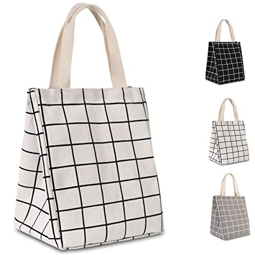 HOMESPON Reusable Lunch Bag Insulated Lunch Box Cute Canvas Fabric with Aluminum Foil, Printed Lunch Tote Handbag Fordable for Women,Men,School, Office (White Checkered(long handle) reviews
