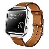 Fitbit Blaze Watch Band, ABC Luxury Genuine Leather Wrist Watch Band Strap for Fitbit Blaze Smart Watch (Brown )