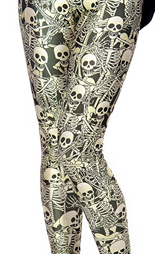 Christal Town Women's Soft Halloween Skulls Regular and Plus Leggings Pants F-Skulls Plus Size (Size 12-24)